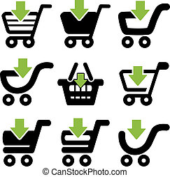 Vector black simple shopping cart, trolley with green arrow, item