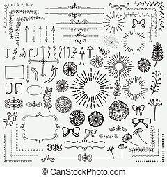 Vector Black Sketched Floral Rustic Design Elements