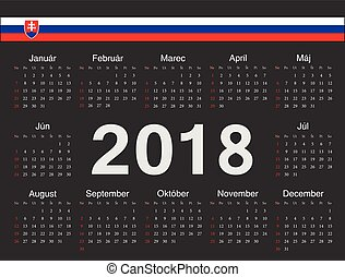 Vector black Slovak circle calendar 2018. Week starts from Sunday.