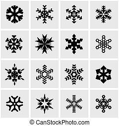Vector black snowflake icon set