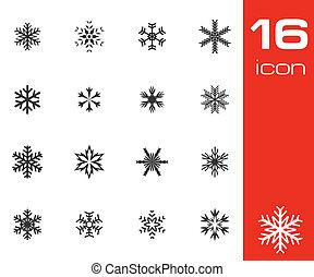 Vector black snowflake icons set