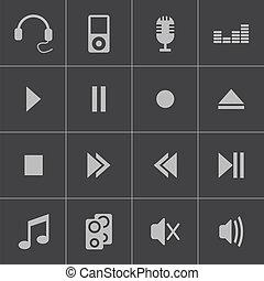 Vector black  sound icons set
