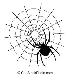 Vector black spider and web silhouette - Vector spider on...
