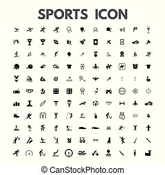 vector black sports icons set on white