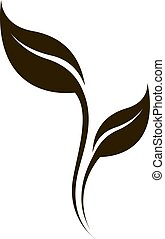 Vector black stylized leaf silhouette isolated on white