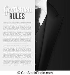 Vector Black Suit. Gentlemen Rules List Template. Realistic Vector Mens Suit