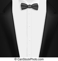 Vector Black Suit with Bowtie. Realistic Mens Tuxedo Suit Succeed Businessman Concept