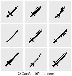 Vector black sword icon set