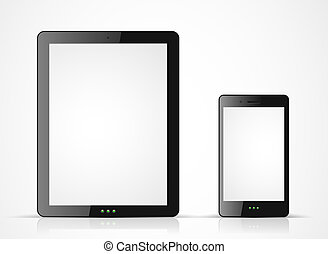 Vector black tablet pc and mobile phone on white background