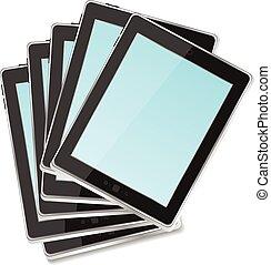 vector Black tablet pc set on white background