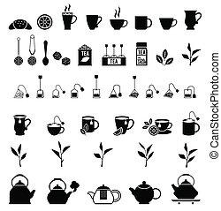 Vector black tea icons set.