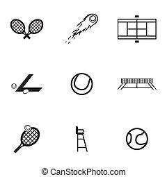 Vector black tennis icons set