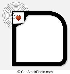 vector black text box with a heart and paper clip