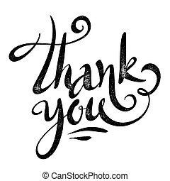 Vector black Thank you sign in grunge calligraphy style - ...