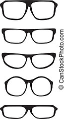 Vector black thick glasses set - Vector glasses set with...