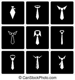 Vector black tie icon set