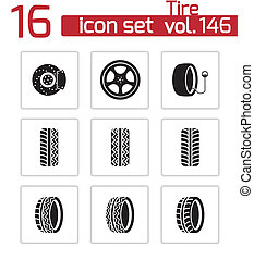 Vector black tire icons set