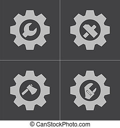 Vector black tools in gear icons set