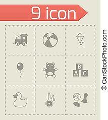 Vector black toys icon set