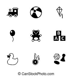 Vector black toys icon set