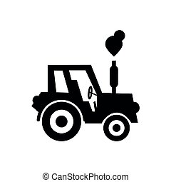 Vector black tractor icon on a white background, silhouette