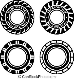 vector black tractor tyre symbols