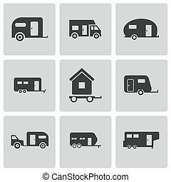 Vector black trailer icons set