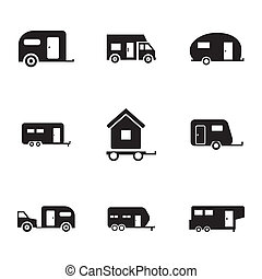 Vector black trailer icons set on white background