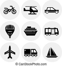 Vector black transportation icons