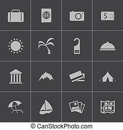 Vector black  travel icons set