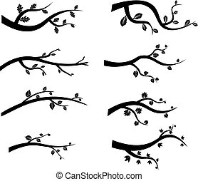 vector black tree branch silhouettes - Stylized black tree...