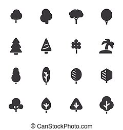 Vector black tree icons set