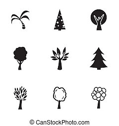 Vector black trees icons set