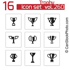 Vector black trophy icons set