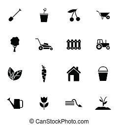 vector, black , tuinieren, set, iconen