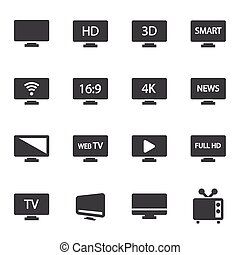 Vector black tv icons set