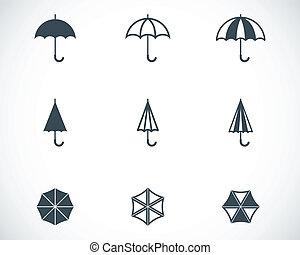 Vector black umbrella icons set