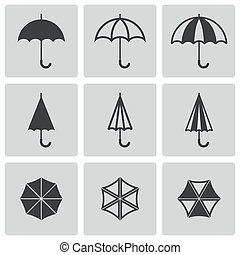 Vector black umbrella icons set on gray background