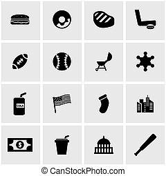 Vector black usa icon set