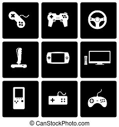 Vector black video game icon set