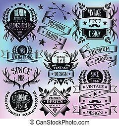 Vector black vintage badges set