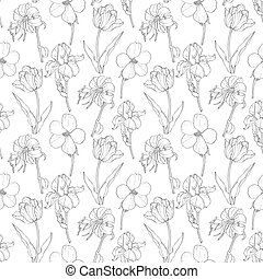 Vector Black Vintage Garden Flowers On White Fabric Repeating Seamless Pattern Design With Tulips, Daffodils In Botanical Style. Unique surface pattern design for textiles, product packaging, backgrounds, wallpaper, scrapbooking, gift wrap, and home decor.