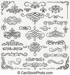 Vector Black Vintage Hand Drawn Swirls Collection