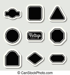 Vector black vintage labels set. Frames for design