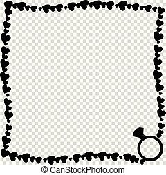 Vector black vintage photo framework made of hearts with ring silhouette isolated