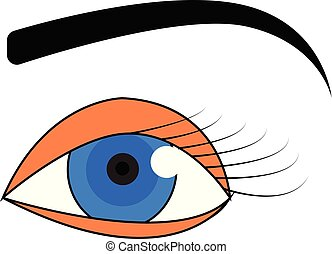 vector, black , wenkbrauw, oog, achtergrond, witte , blauwe , illustratie