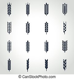Vector black wheat ear icon set