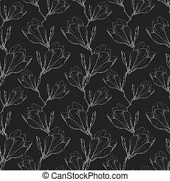 Vector Black White Lace Vintage Magnolia Flowers Fabric...