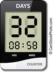 vector black white LCD counter - countdown timer