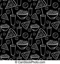 Vector Black White Sleepover Movie Night Party Food Seamless Pattern. Pizza. Drink. Cookie. Popcorn. Snack.